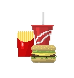 Pixel art fast food hamburger and cola icons vector
