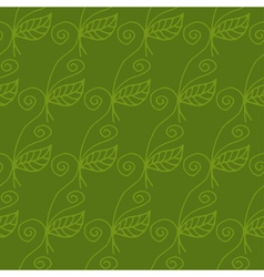 Seamless pattern of curved flowers and leaves vector