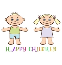 Set of children boy and girl vector