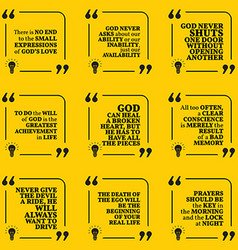 Set of motivational quotes about god achievement vector