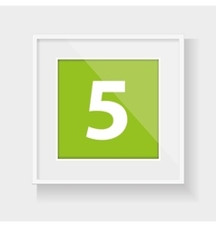 Square frame with number five vector