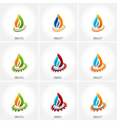 Vector business emblem fire water set icon vector