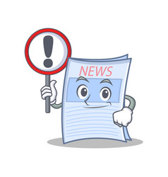 with sign newspaper character cartoon style vector image