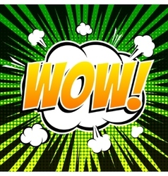 Wow comic book bubble text retro style vector