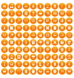 100 insects icons set orange vector