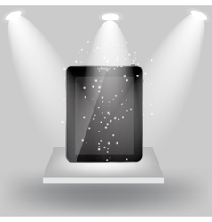 Abstract design tablet on white shelves on light vector image