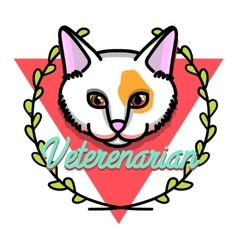 Color vintage veterinarian emblem vector