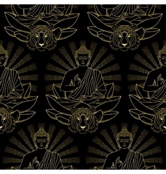 Seamless Pattern of Gold Buddha Lotus and Tiger vector image