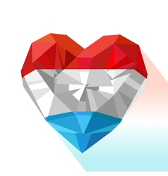 Crystal gem jewelry heart of the grand duchy of vector