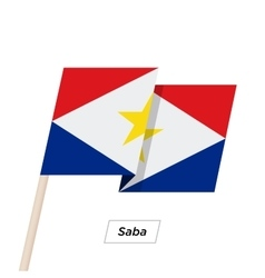 Saba ribbon waving flag isolated on white vector