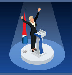 The woman is the winner in the elections vector