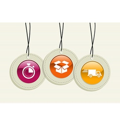 Hanging delivery badges vector