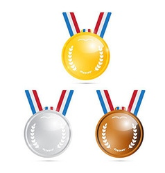 Medals gold silver bronze first second third vector