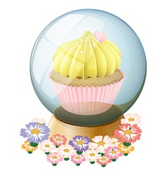 A clear crystal ball with a cupcake inside vector