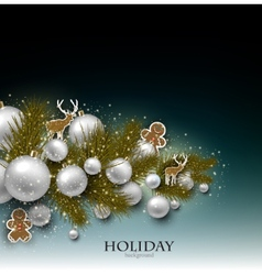 Christmas background with Christmas toys balls and vector image
