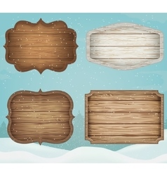 4 realistic wooden signs set decoration elements vector