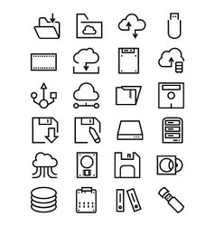 Data storage line icons 4 vector