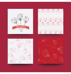 Set flower and patterns vector