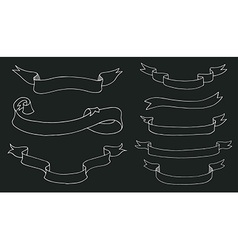 Collection of hand drawn ribbons on blackboard vector