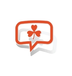 Clover message sticker orange vector