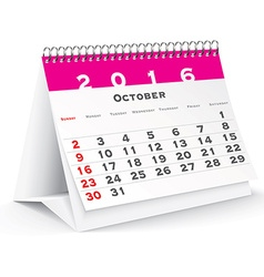 October 2016 desk calendar vector