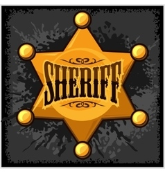 Golden sheriff star badge on vector