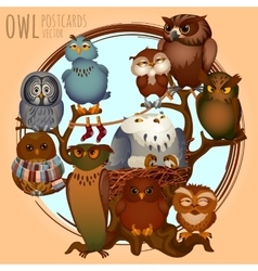 Ten different owls on a branch cartoon series vector image