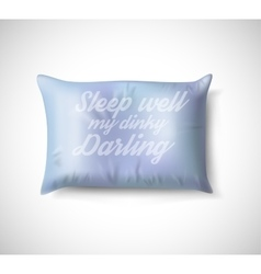 Blue pillow on white background with real shadow vector