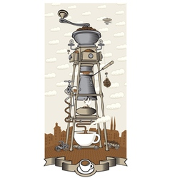 Coffee house in the city vector