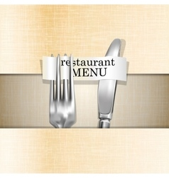 Restaurant menu knife and fork on a paper vector