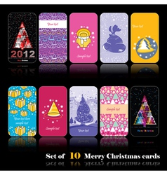 Set of ten new year cards vector