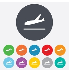 Plane landing icon airplane transport symbol vector