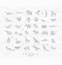 animals origami set crumpled vector image vector image