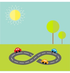 Background with road infinity sign cartoon cars vector