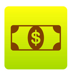 bank note dollar sign brown icon at green vector image
