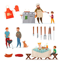 barbecue party icon set vector image vector image