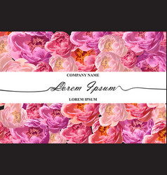 brand card with watercolor peony flowers vector image