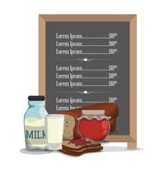 Breakfast menu jam bread milk vector