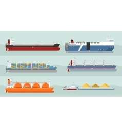 Collection of cargo ships flat style vector