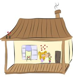 Cozy home happy loving couple vector image