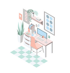 creative modern workplace with table and designer vector image vector image