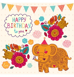 Elephant birthday greeting design vector