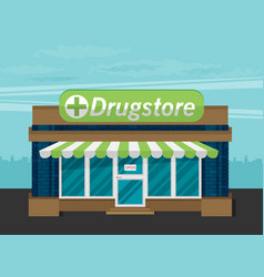 facade of pharmacy flat vector image vector image