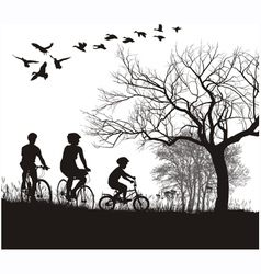 Family cycling in the countryside vector