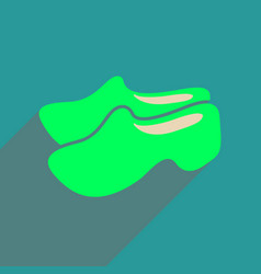Flat web icon with long shadow wooden shoes vector