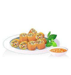 Fried spring roll vector