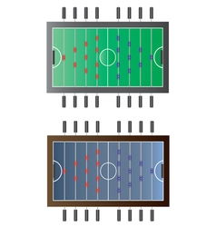 Game room foot ball table top view vector