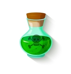 Glass bottle with a green toxic liquid vector image