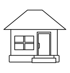 House facade small steps architecture outline icon vector