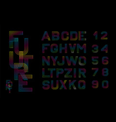 linear font alphabet multicolored lines vector image